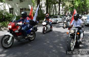 Представители российского мотоклуба «Ночные волки» прибыли в Киргизию