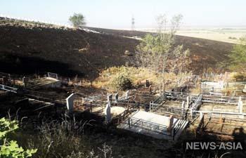При крупном пожаре в Алматы пострадало кладбище (фото)