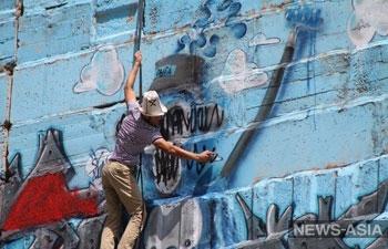 Самое большое граффити Центральной Азии подверглось вандализму